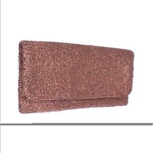 Moyna clutch in matte rose gold